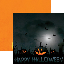 Jack o/' Lantern Halloween title printed die cut with layer of glitter accents